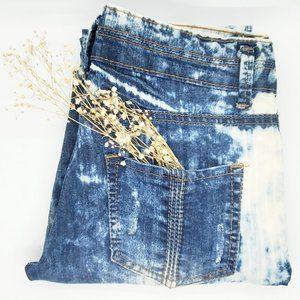 E D G Y blue acid wash low rise skinny jeans